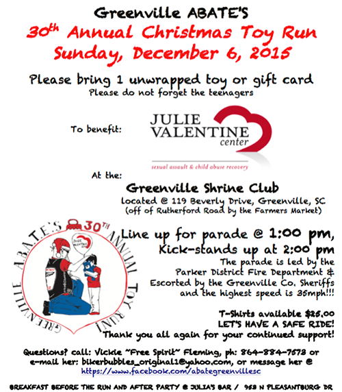 30th Annual Christmas Toy Run, Sun. Dec 6, 2015 @ 1 p.m.