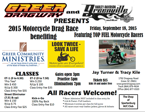 2015 Motorcycle Drag Race, Fri Sep. 18, Greer Dragway