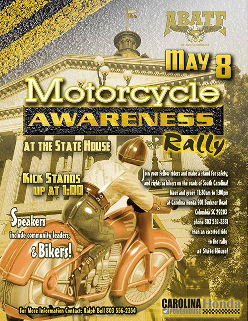 May Motorcycle Awareness Rally at the State House, Sunday, May 8 (NOTE THE DATE!)