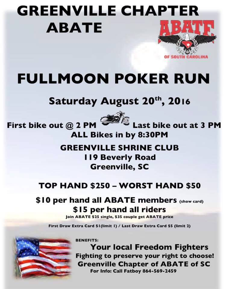 Full Moon Poker Run, Sat. Aug 20 at 2, Greenville ABATE