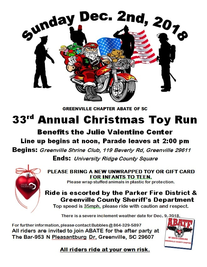 33rd Annual Christmas Toy Run, Sun. Dec 2nd at Noon @ Shriners